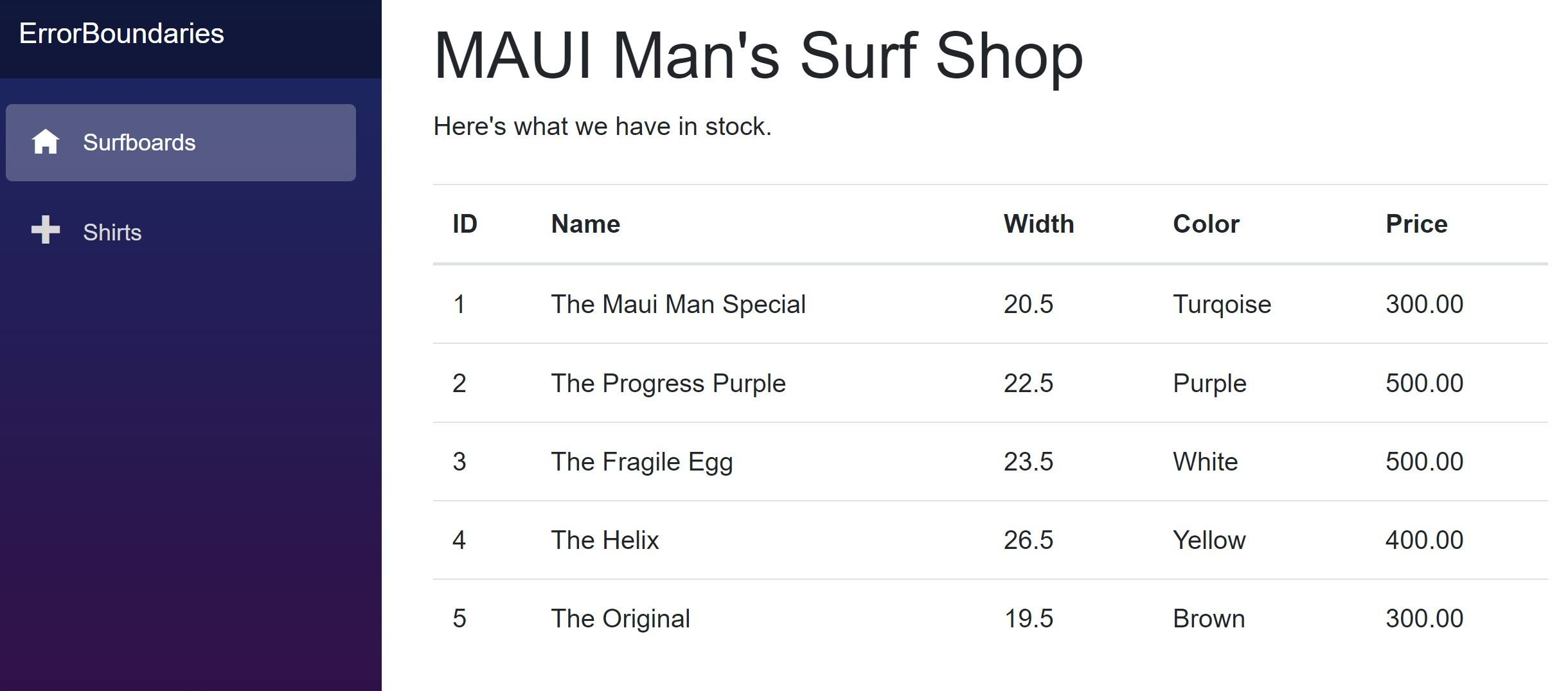 The MAUI Man Surf Shop says, 'Here's what we have in stock,' with a list of surfboards, including ID number, name, width, color and price.
