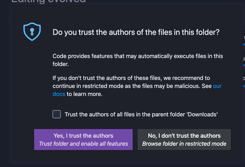 The screen reads,  'Do you trust the authors of the files in this folder?' With some explanation, and then two buttons to either trust the authors or don't trust the authors.