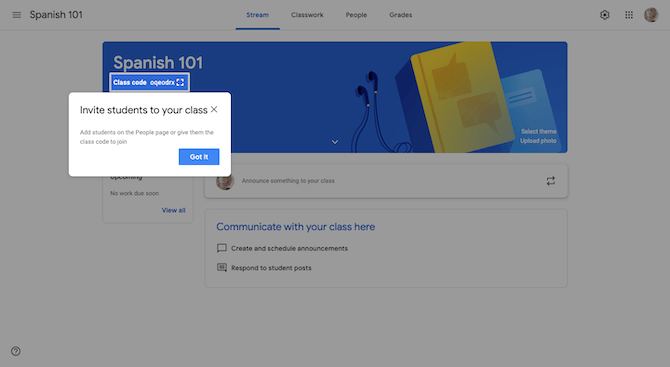 """After a teacher creates a new class in Google Classroom, they see a tooltip that shows them how to """"Invite students to your class"""" using a QR code."""