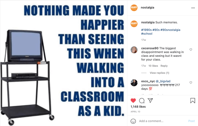 """An Instagram post from @nostalgia shows an old TV strapped to a wheeled cart and this: """"Nothing made you happier than seeing this when walking into a classroom as a kid."""""""