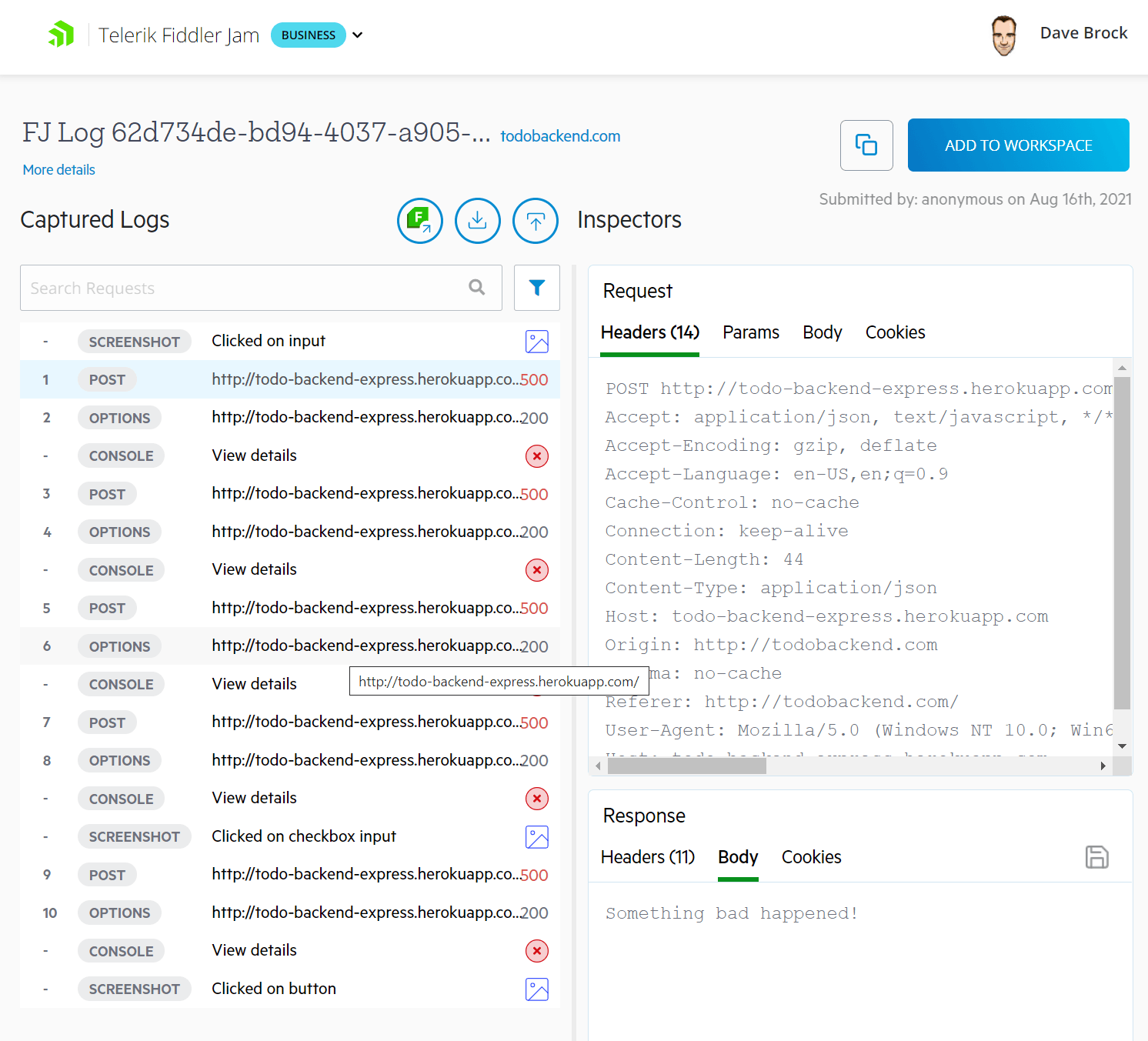 The captured logs show the actions taken, the Request logs, and the Response logs
