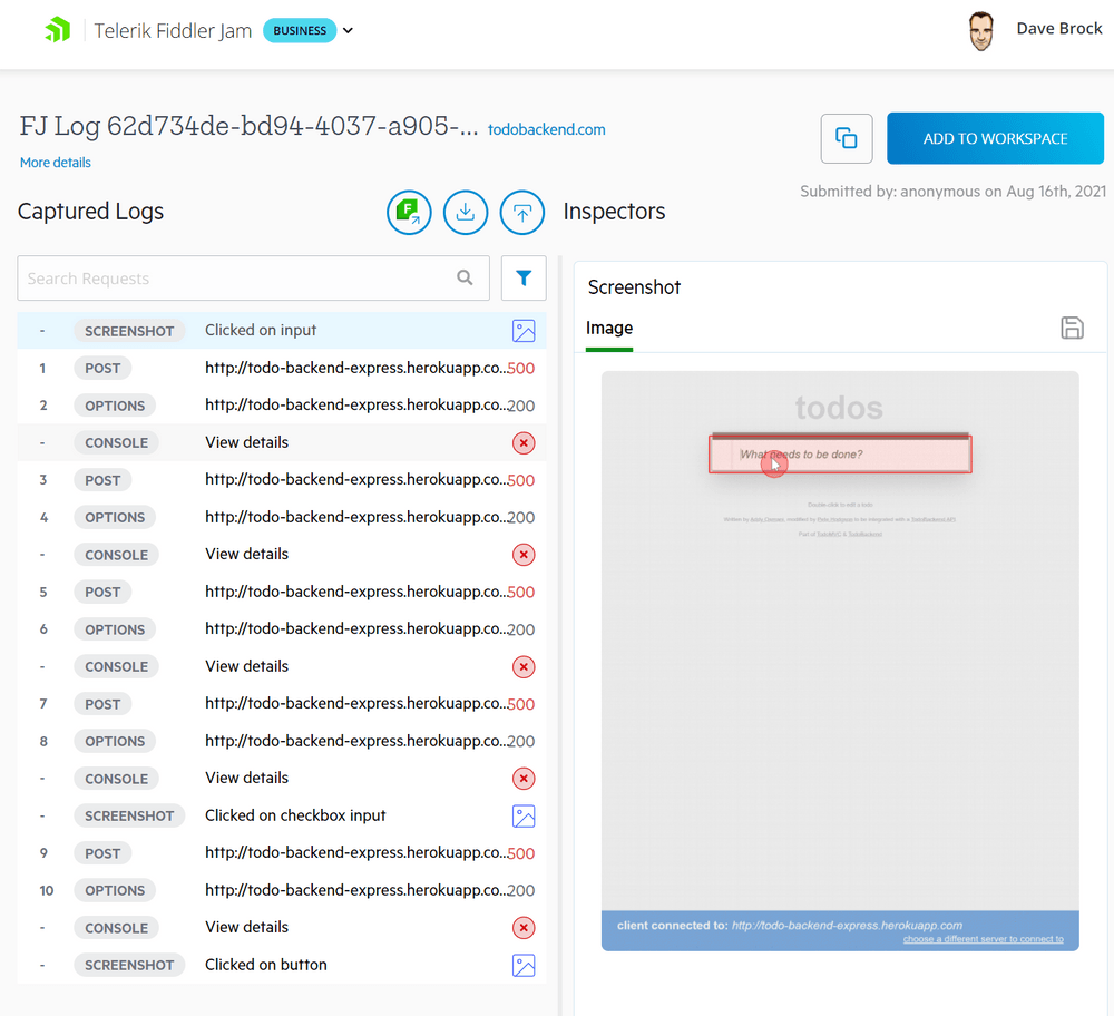 The log for 'Screenshot - clicked on input' is selected, and the inspector shows a screenshot revealing a user click on Todos: What needs to be done?