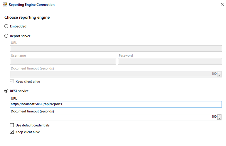 Option to create Reporting Engine Connection for desktop viewers