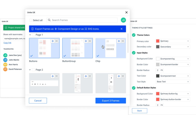 Unite UX frame export—Export frames as component design or SVG icons.