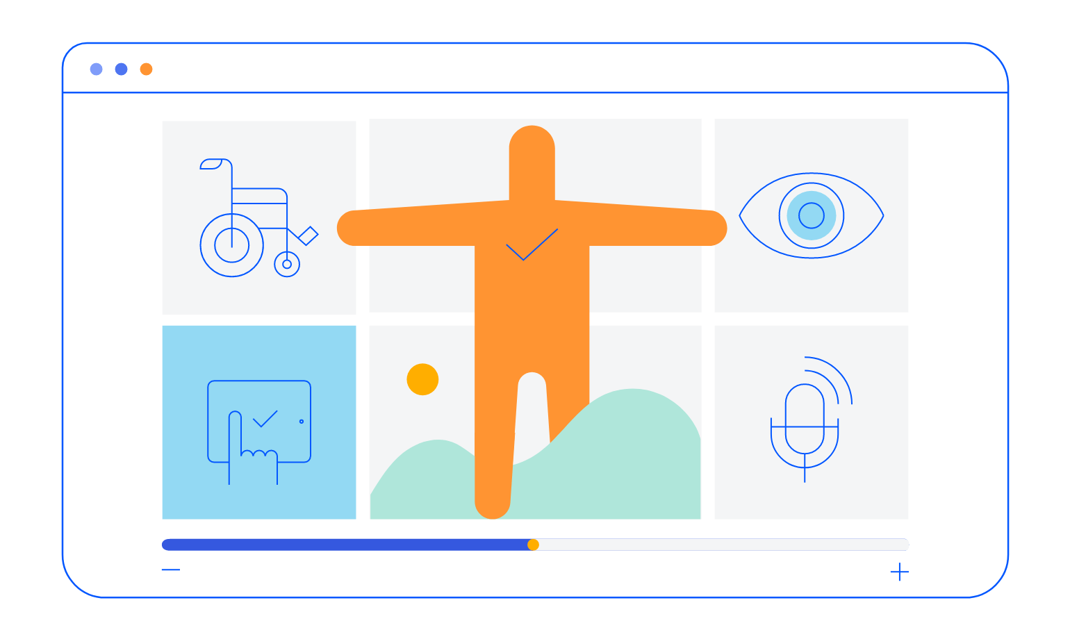 Illustration showcasing various icons associated with accessibility (voice navigation, screen readers, etc.)