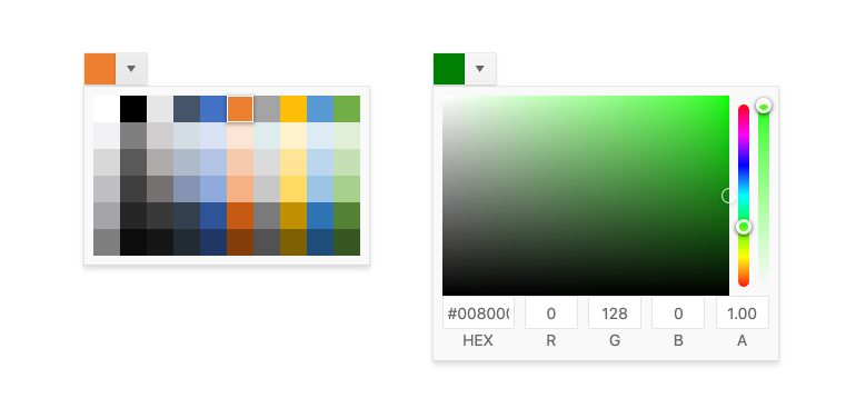 Kendo UI for Angular ColorPicker. Two ColorPicker options. On the left, a grid of square swatches the user can choose from. On the right, a gradated field of green, allowing very specific color selection, including hex or RGBA and two sliders for color and opacity.