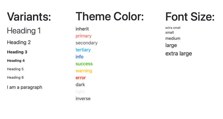 KendoReact Typography Component - Overview showing multiple styles of fonts (headings, success and warning messages etc.)