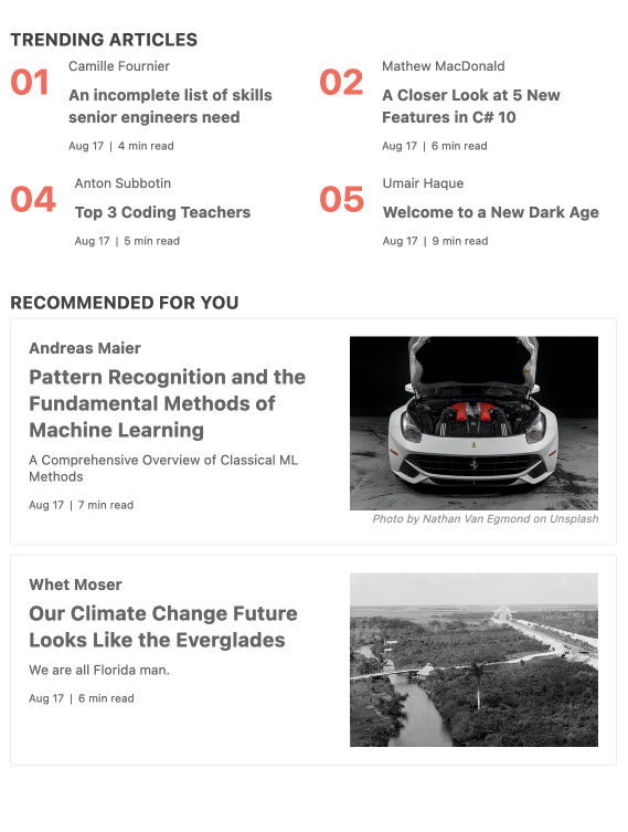 KendoReact GridLayout Component - Overview - On top are four trending articles, listed two-by-two with author, titel, date, length of read. Below are recommend for you articles in a card layout, with the same text information, plus an image for each article.