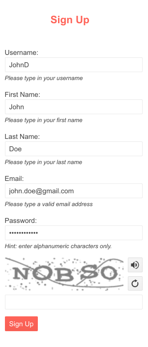 Small sample of a form with the new Kendo UI for jQuery CAPTCHA component at the bottom