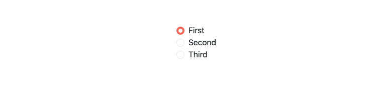Kendo UI for Vue RadioButton and RadioGroup Components. First, Second, Third are radio options, and First has been selected, adding a thick pink outline to its open circle.