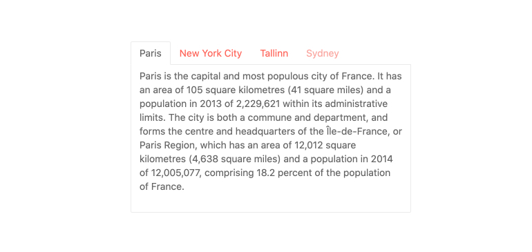 Kendo UI for Vue TabStrip - Overview - tabs at the top list, Paris, New York City, Tallinn and Sydney. We're on Paris, and there's a paragraph about the city.