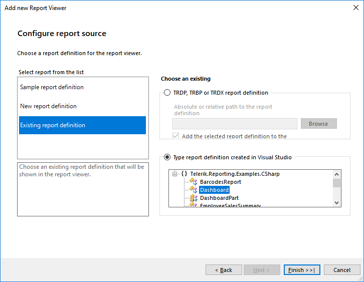 Item template page showing Configure Report Source dialog
