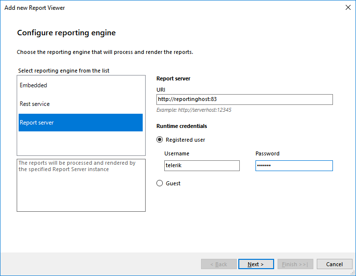 Image template page showing the Configure Reporting Engine dialog