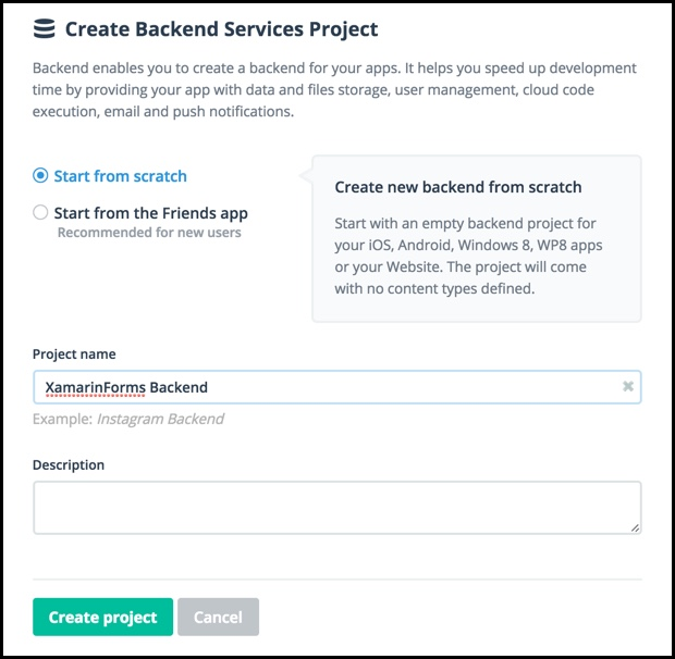 createbackendserviceproject
