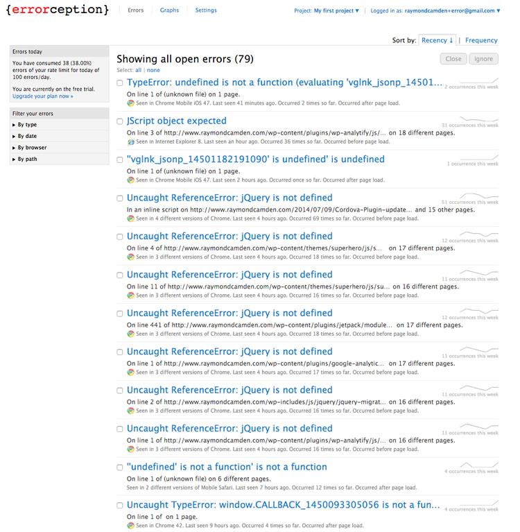Errorception dashboard