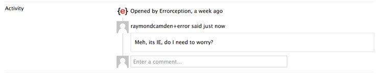 Errorception error comments