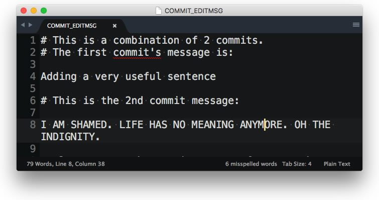 Change the commit message of a squashed git commit