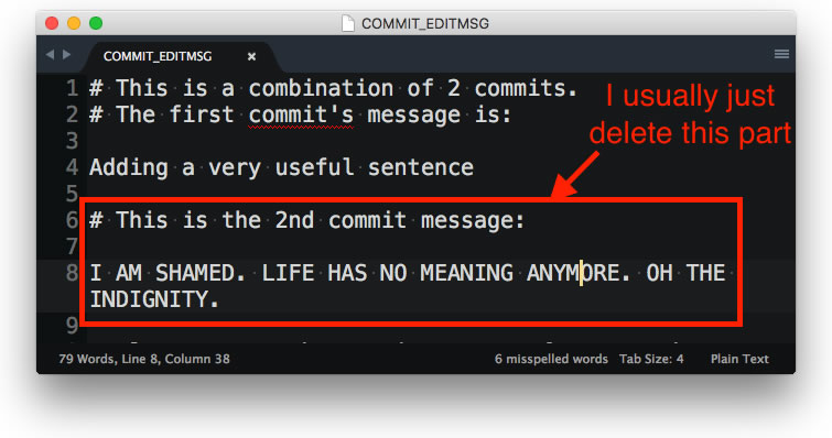 Showing which part to remove when crafting a squashed git commit