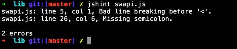 JSHint output
