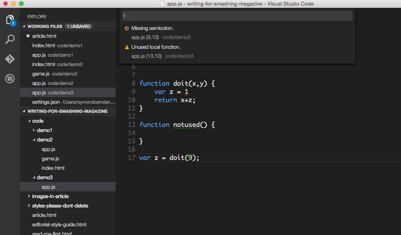 Visual Studio Code linting.