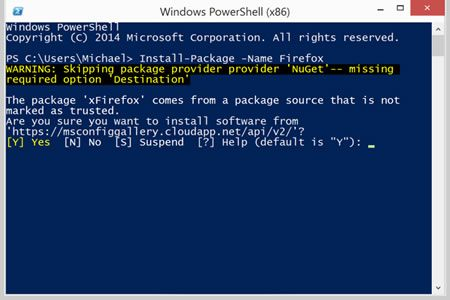 Figure 1 : Installing Firefox from the PowerShell command line in the Windows 10 Technical Preview.