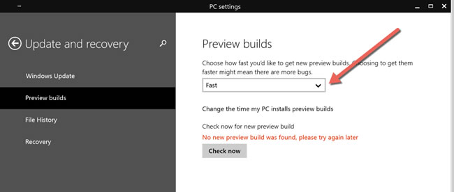 Figure 7 : Preview Build changed to Fast in Windows 10.