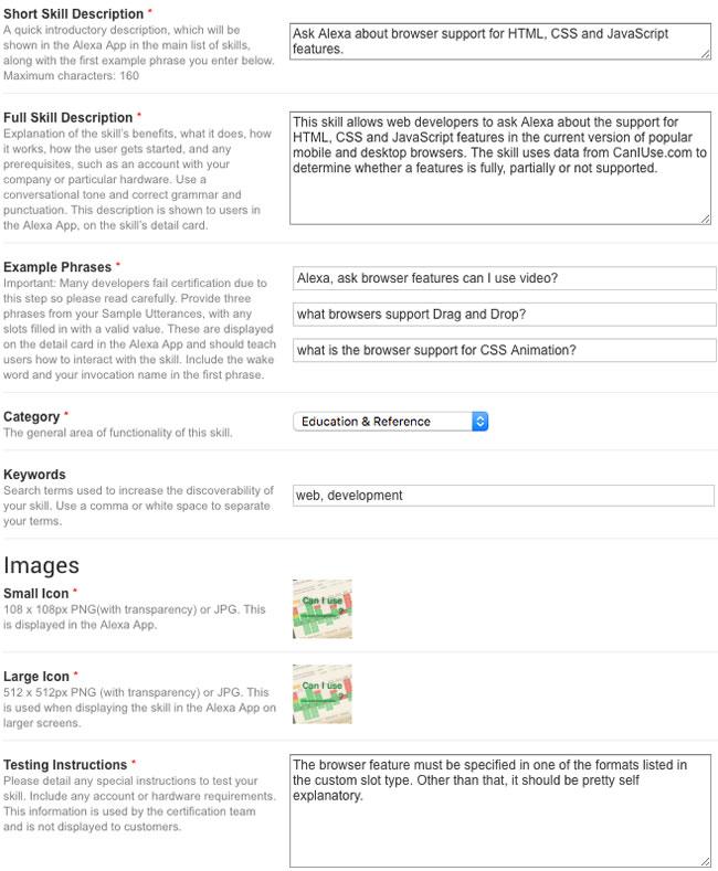 alexa skill publishing information