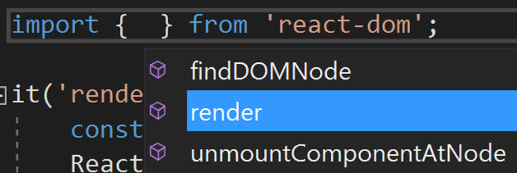 react-dom module named export IntelliSense