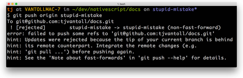 A forced git push being rejected
