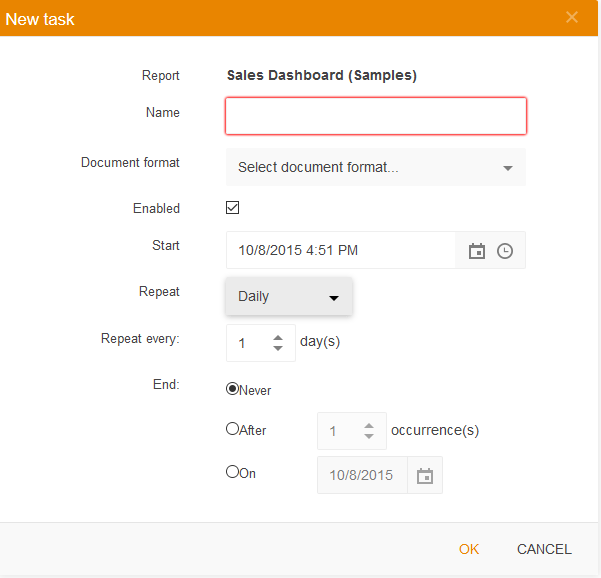 Add new scheduled task in Telerik Report Server