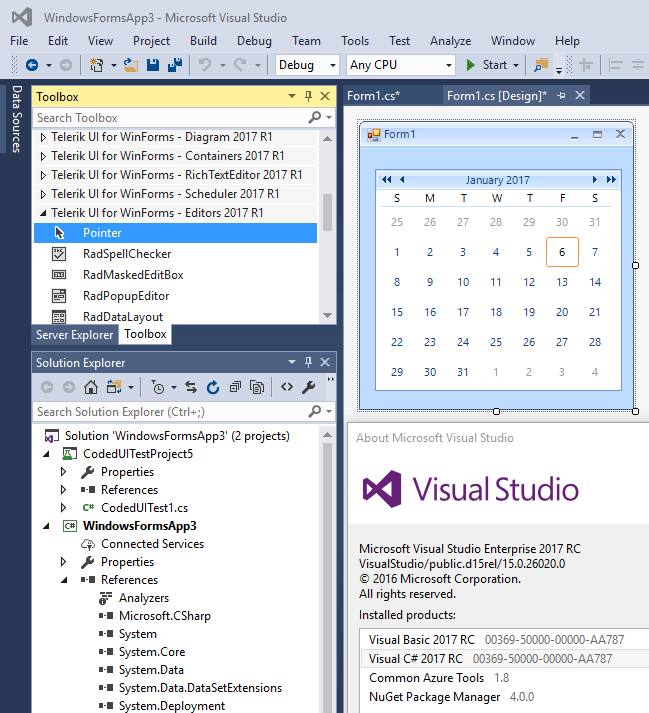 UI for WinForms Visual Studio 2017 support