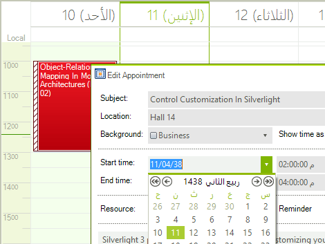 UI for WinForms RadScheduler arabic calendars support