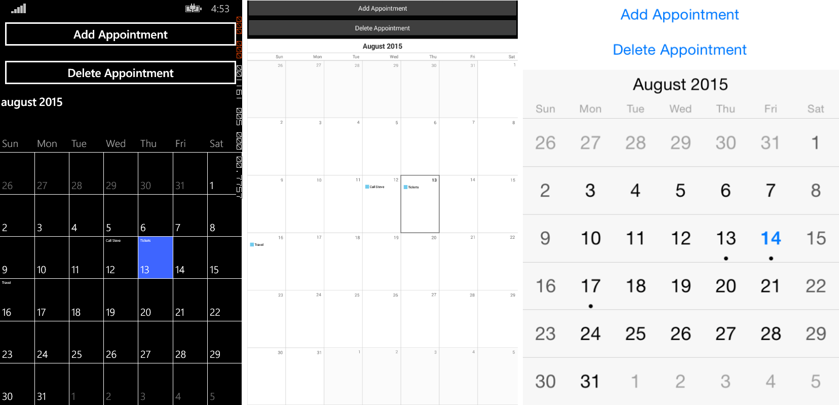 Set Your Appointments with Calendar for Xamarin Forms
