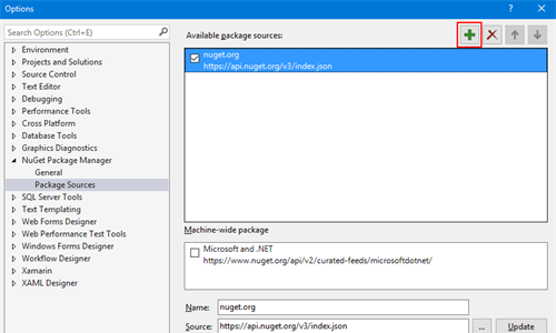 nuget-package-manager-options