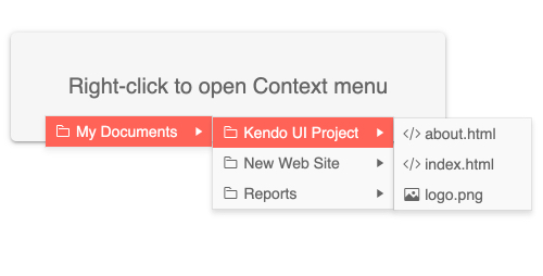 Kendo UI for Angular ContextMenu - Templates