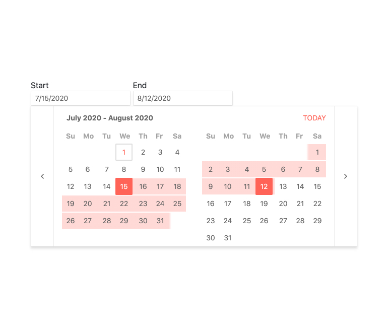 Kendo UI for Angular DateRange - Overview