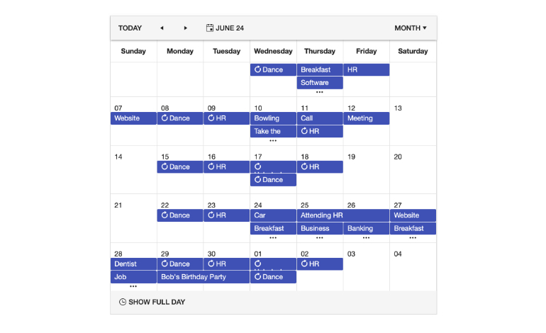 Kendo UI for Angular Scheduler - Month View