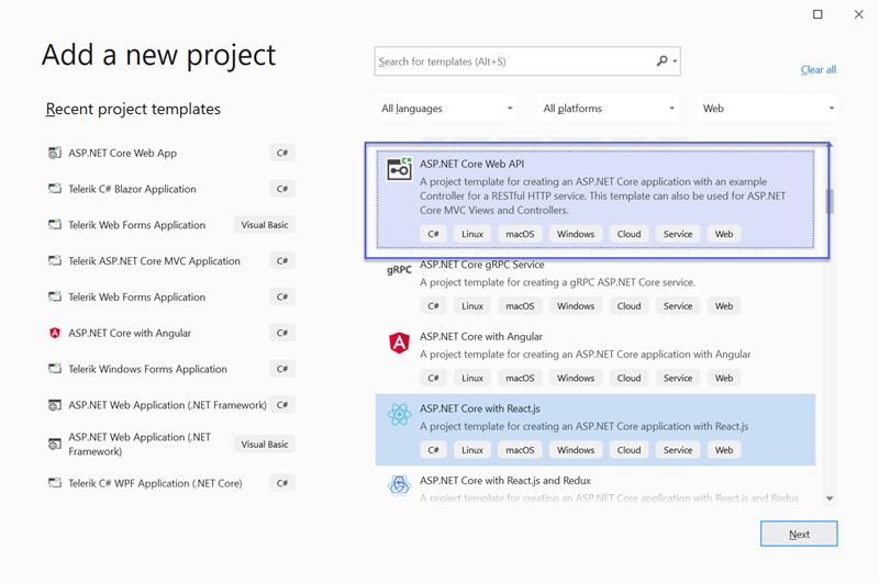 Figure 01 - Create Empty ASP.NET Core WebApi Project