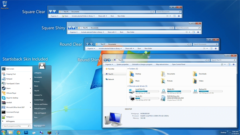 Windows 7 Aero UI has options for window displays: square clear, square shiny, round clear, round shiny. And the Startisback Skin is included. This start menu opens a list of programs.