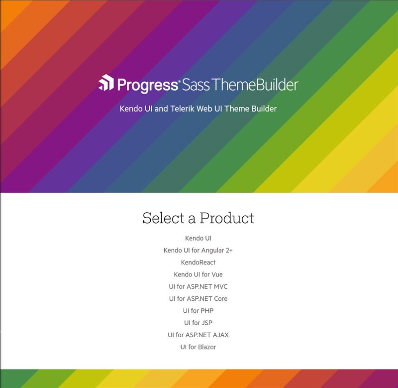 Progress Sass Web UI Theme Builder page.