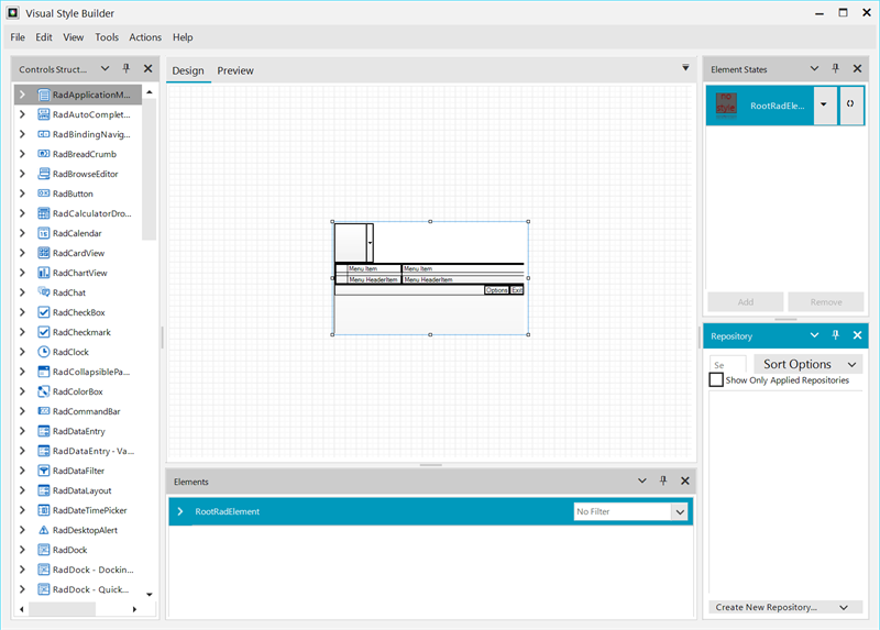 WinForms Visual Style Builder has a lefthand menu with controls structures, a main window for design/preview, and righthand element states and repository.
