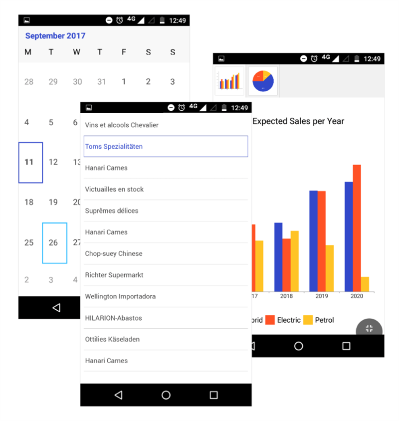 Xamarin Blue Theme shown in three mobile screens - a selectable text list, a calendar, and a chart. The colors are white background, dark gray text, royal blue primary highlights, light blue secondary, and a reddish orange and an orangish yellow as other highlights on the graphs/charts.