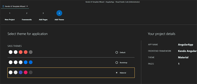 VS Code Material Theme. We're on step 4 of the wizard, Add Theme. Material is selected.