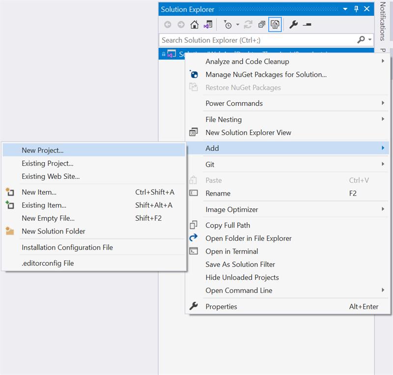Figure 11 - Visual Studio Add New Project
