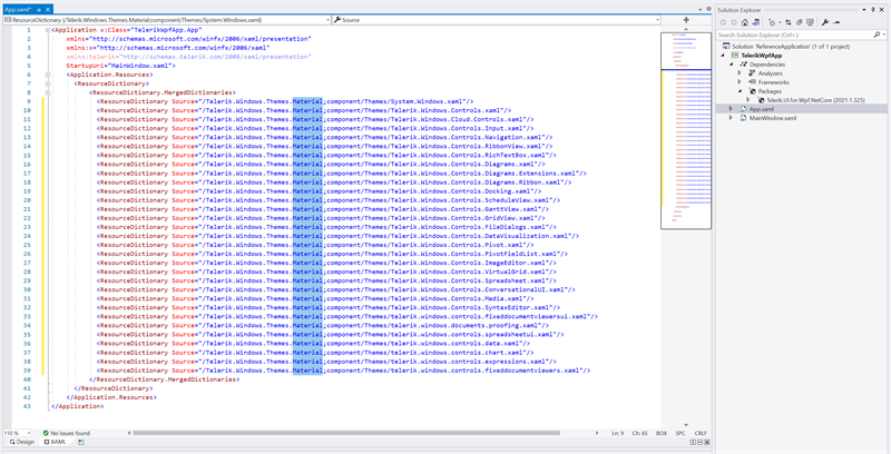 Change Theme in App.xaml Page - the ResourceDictionary lines all have a source with Material.