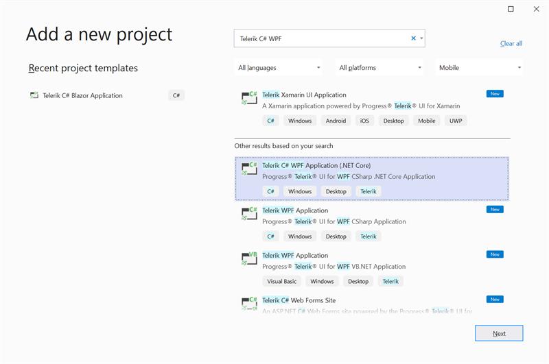 Figure 16 - Add Telerik C# (.NET Core) WPF Project Template