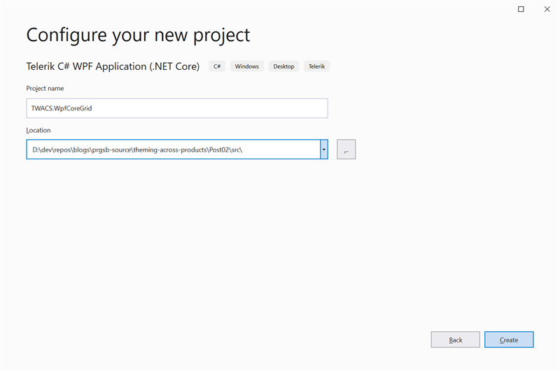 Figure 17 - Specify the Name and Location of the WPF Project