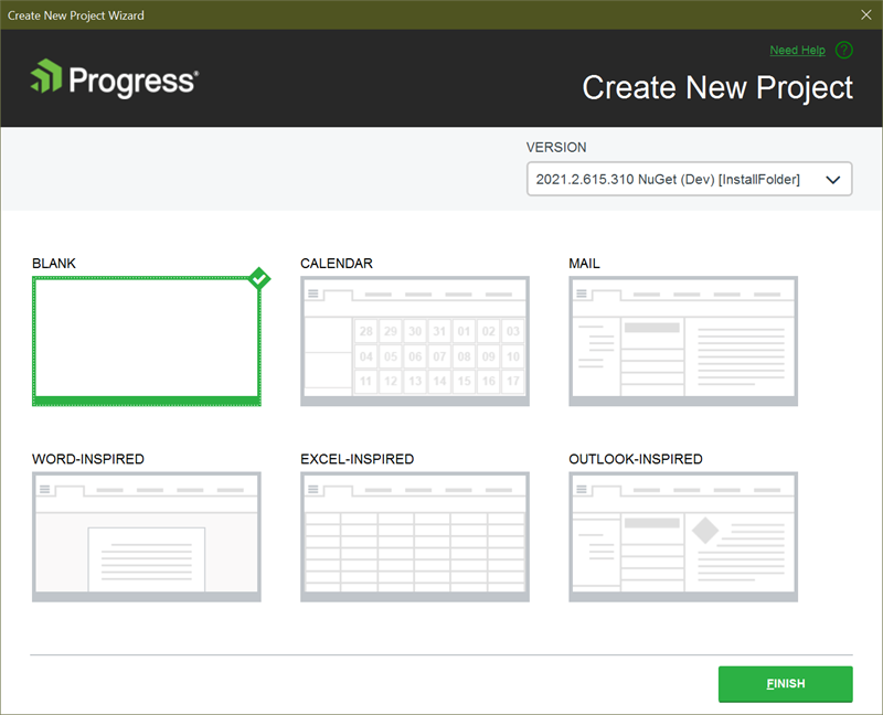 Figure 18 - Select the Blank Project Template