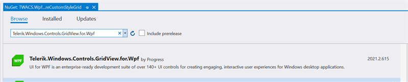 Figure 19 - Add Telerik.Windows.GridView.for.Wpf NuGet Package