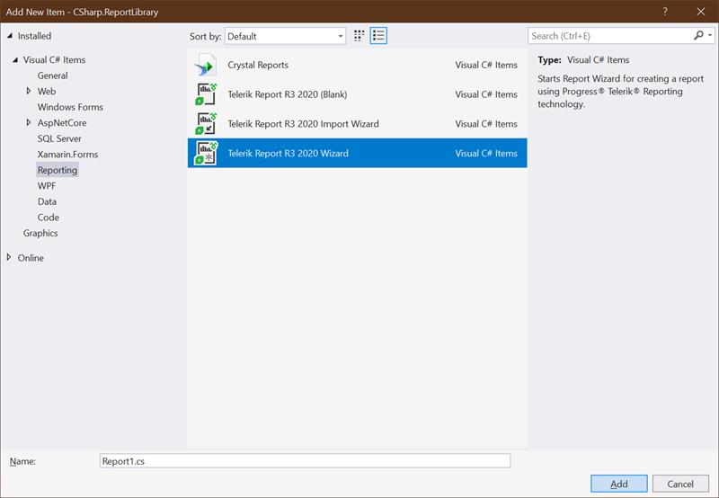 Visual Studio Designer Add New Report Wizard